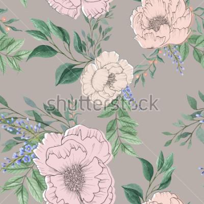 Quadro mistura de fundo aquarela sem emenda flor floral colorida e folhas com arte de linha usada para textura de fundo, papel de embrulho, design têxtil ou papel de parede