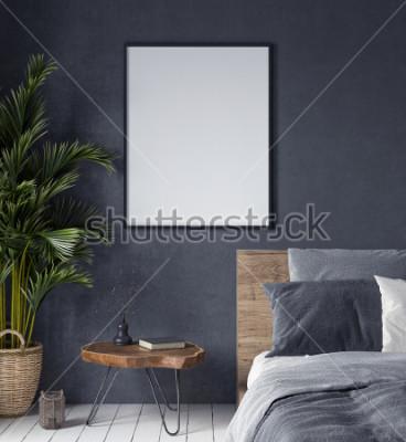 Quadro Mock-se carto no interior do quarto, estilo étnico, render 3d