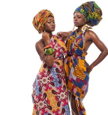 Quadro Modelos femininos africanos posar em vestidos.