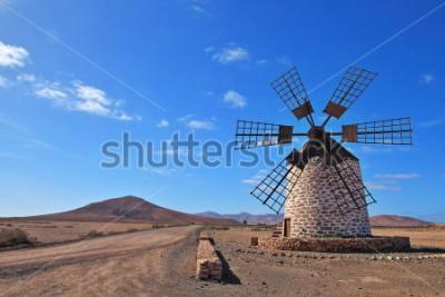 Quadro Moinho de vento em Fuerteventura, Ilhas Canarias, Espanha
