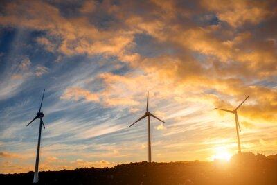 Quadro Moinhos de vento elétricos no fundo do céu no por do sol