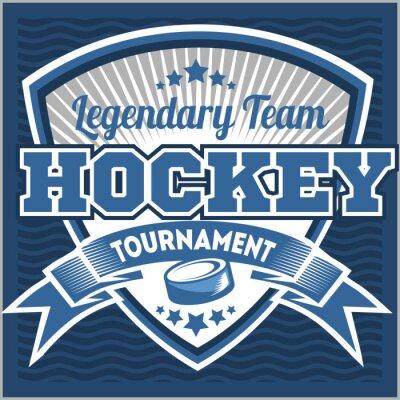 Quadro Molde do logotipo da equipe de hóquei. Emblema, molde do logotipo, projeto do fato do t-shirt. Sport badge para torneio ou campeonato