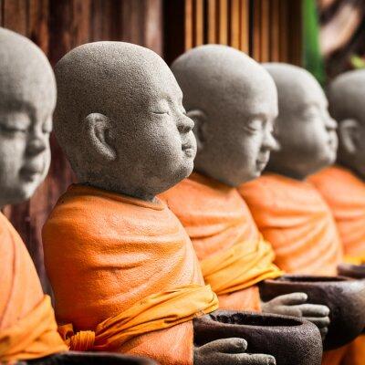 Quadro Monge, estátua, segurando, tigela