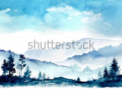 Quadro montanhas da aguarela
