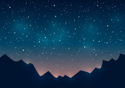Quadro Montanhas, silhuetas, estrelado, fundo