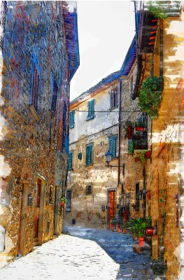 Quadro Montefioralle, one of the most beautiful villages of Tuscany, Italy