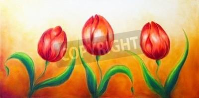 Quadro Motivo da flor, três flores vermelhas de dança da tulipa, pintura colorida brilhante bonita no fundo do ocre