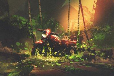 Quadro Moto enferrujada abandonada em vegetação coberta, estilo de arte digital, pintura de ilustração