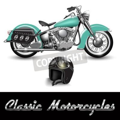 Quadro Motocicleta clássica e capacete com óculos. Vector a ilustração