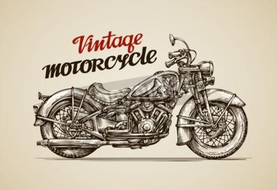 Quadro Motocicleta do vintage. Mão desenhada moto ilustração vetorial