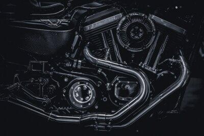 Quadro Motocicleta, motor, motor, escapamento, tubos, arte, fotografia, pretas, branca ...