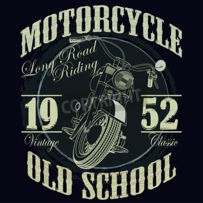 Quadro Motocicleta que grava gráficos da tipografia. Bicicleta da velha escola. T-shirt Design, ilustração do vetor
