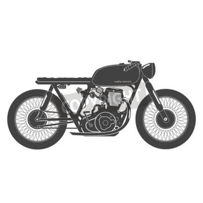 Quadro Motocicleta velha do vintage. Tema do corredor do café.