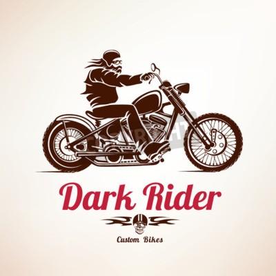 Quadro Motociclista, motocicleta, grunge, vetorial, silueta, retro, emblema, rótulo