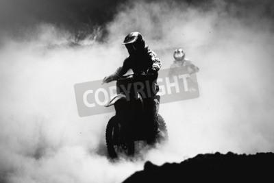 Quadro Motocross, piloto, acelerando, poeira, pista, pretas, branca, alto ...
