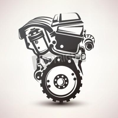 Quadro Motor, car, símbolo, stylized, vetorial, silueta, ícone