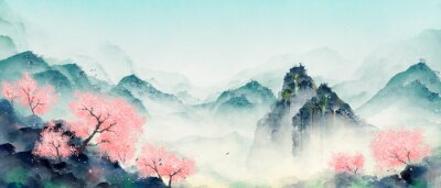 Quadro Mountain forest with peach blossoms in spring and summer. Oriental ink landscape painting.
