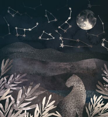 Quadro .Mountain night landscape with leopard. .Collage of textured shiny metallic paper
