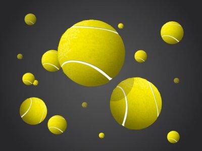 Quadro Movendo-se bolas de tênis Voar, Cair isolado no fundo escuro.
