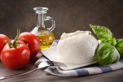 Quadro Mozzarella di bufala con pomodori, basilico e olio extravergine