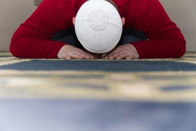 Quadro Muçulmano, homem, orando, mesquita