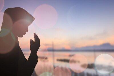 Quadro Muçulmano, mulher, orar, lindos, fundo