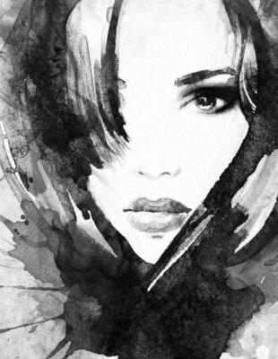 Quadro Mulher .abstract retrato da aguarela