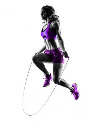 Quadro Mulher, aptidão, pular, corda, exercícios, silueta