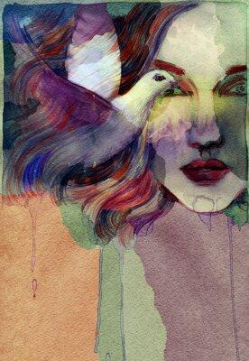 Quadro Mulher bonita. ilustração da aguarela