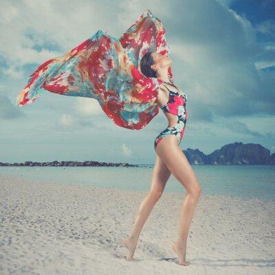 Quadro Mulher bonita na praia