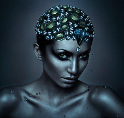 Quadro Mulher com cabeça de pedra preciosa