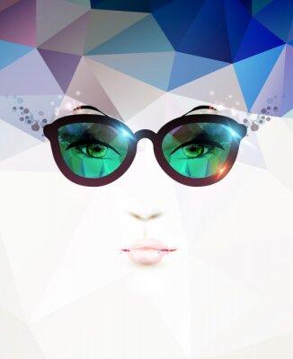 Quadro mulher da forma com óculos