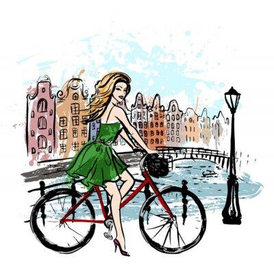 Quadro Mulher, dirigindo, bicicleta