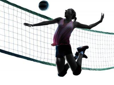 Quadro Mulher do jogador de vôlei isolado silhueta