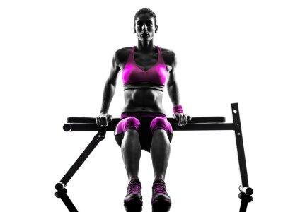 Quadro Mulher fitness push-ups exercícios silhueta