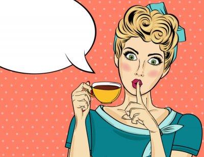Quadro Mulher loira sexy pop art com xícara de café
