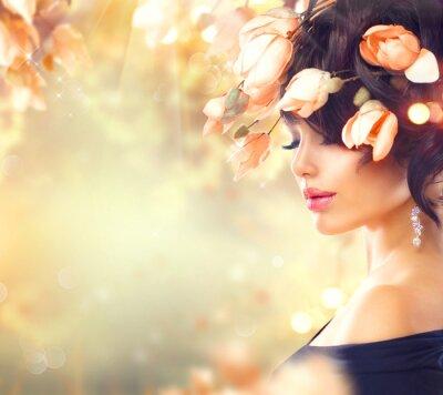 Quadro Mulher, magnólia, flores, cabelo