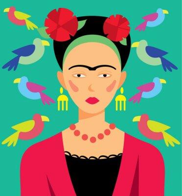 Quadro Mulher mexicana na composição, ilustração do vetor. Personagens de banda desenhada.