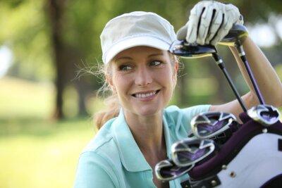 Quadro Mulher no campo de golfe