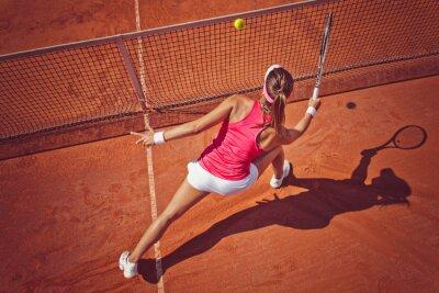 Quadro Mulher nova que joga tennis.High ângulo view.Forehand voleio.