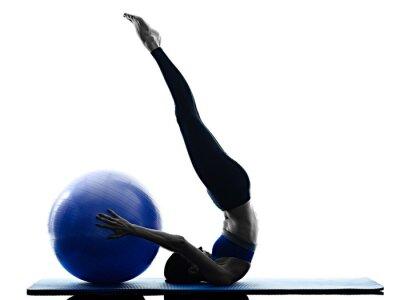 Quadro Mulher, pilates, bola, exercícios, aptidão
