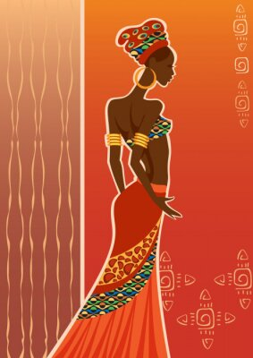 Quadro Mulher preta bonita. Mulher africana.
