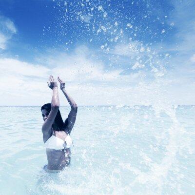 Quadro Mulher que espirra no mar