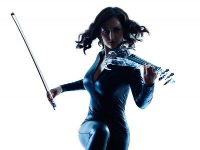 Quadro Mulher violinista slihouette isolado