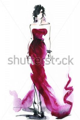 Quadro mulheres com vestido elegante. aquarela abstrata.
