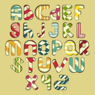 Quadro multicolorido alfabeto listrado