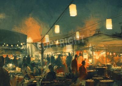 Quadro Multidão, pessoas, andar, mercado, noturna, digital, pintura