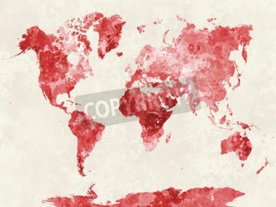Quadro Mundo, mapa, aquarela, pintura, abstratos, splatters