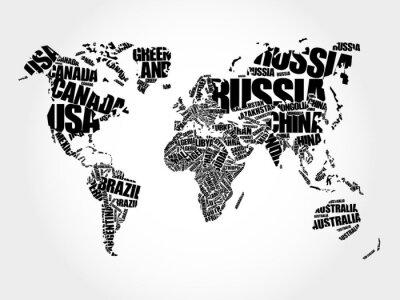 Quadro Mundo, mapa, tipografia, palavra, nuvem, conceito, nomes, países
