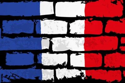 Quadro mur flaga francji wektor